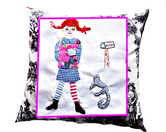 Pippi Longstocking Cushion/Wall Hanging/ Strong Girl Book Character/ Tooth Fairy Cushion/Tween or Babys Room Decor