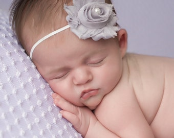 Grey Newborn Headband, Grey Headbands, Baby Headbands, Baby Girl Headbands, Shabby Chic Headband