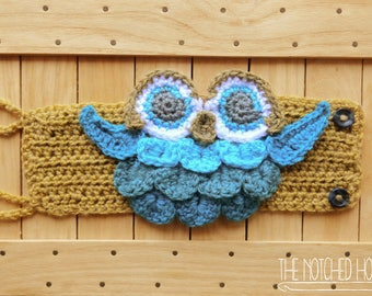 Owl Coffee Mug Cozy // Crochet Owl Travel Cup Sleeve {MADE TO ORDER}