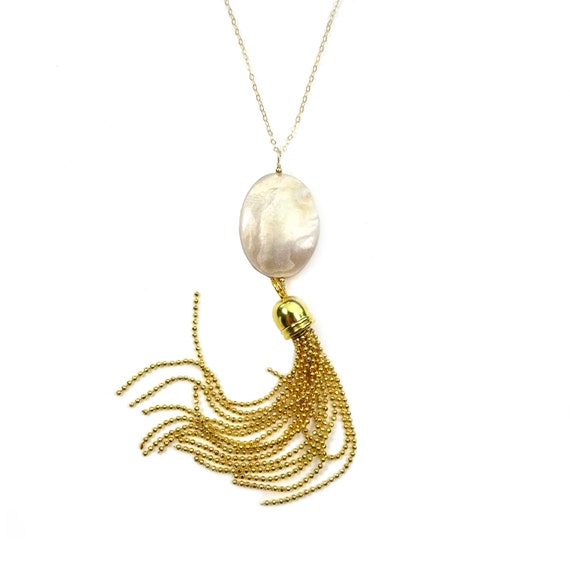 Long Mother of Pearl Gold Tassel Necklace