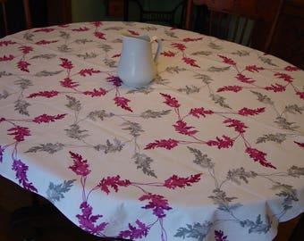 Vintage Wilendur Tablecloth, Burgundy & Grey Leaves on White