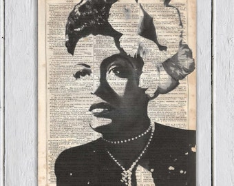 Billie Holiday Music Poster, Dictionary Art Print, Upcycled Book Art, Print on Dictionary Paper, Wall Decor, Wall Hanging, Mixed Media Art