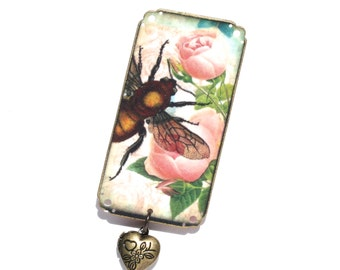 Bee Rose Brooch - Bee Brooch - Rose Brooch - Bee Pin - Rose Pin - Garden Brooch - Bee Jewelry - Rose Jewelry - Garden Jewelry - Bee - Rose