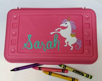 Unicorn Pencil Box- Unicorn Crayon Box, Unicorn Pencil Case, School Box, Girls Valentines Gift, Unicorn Birthday, Personalized Pencil Box
