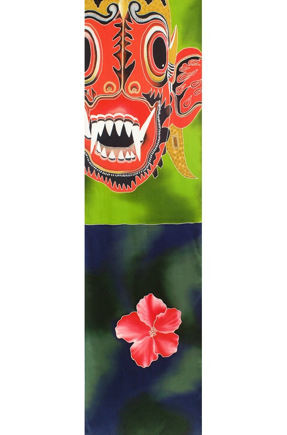 Tribal mask and flower colorful unique hand painted silk scarf