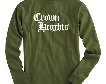 LS Crown Heights Tee - Gothic Brooklyn Long Sleeve T-shirt - Men and Kids - S M L XL 2x 3x 4x - Brooklyn Shirt, NYC - 4 Colors