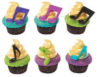 Music Notes - Cake & Cupcake Toppers - 24 Count