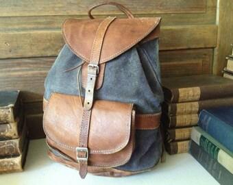 Leather Suede Backpack Rucksack Vintage Rustic Brown Charcoal Medium