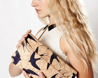 Leather Clutch, leather Shoulder Bag, Leather Purse  - Swallows and leaf