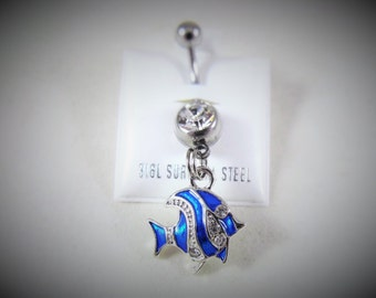 Belly Ring,  Silver Tropical Fish Blue Enameled Cloisonne and Rhinestones  Womens Gift Handmade