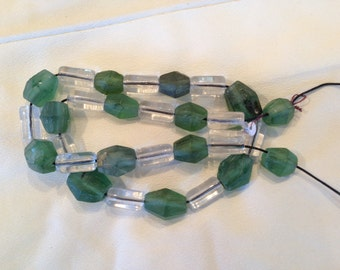 Vintage Green and Clear Czech Glass Trade Beads