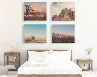 Joshua Tree Print set, rustic southwest decor, desert photography, set of 4 desert prints, California wall art, landscape, sunset photos