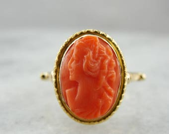 Vintage Coral Cameo Gold Ring, Classical Mounting, 5FY74N-P
