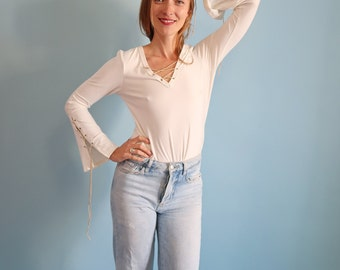 Amazing White V Neck Top with Long Lace Up Flared Sleeves!
