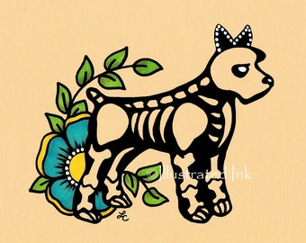 Day of the Dead SCHNAUZER Dog Dia de los Muertos Art Print 5 x 7, 8 x 10 or 11 x 14 - Choose your own words - Shelter Donation