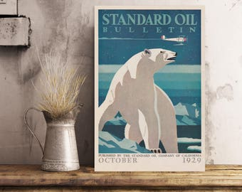 Arctic Polar Bear - Standard Oil Magazine Cover [reproduction on metal]