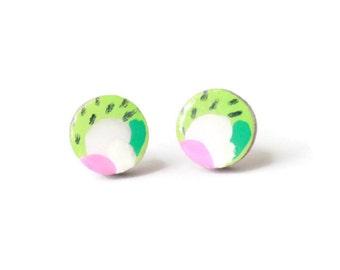 Stud earrings - Statement earrings - Colorful earrings - Unique stud earrings - Colorful stud earrings - Hipster stud earrings - Wood posts