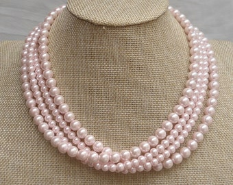 light pink  Necklace,Wedding Necklace, 4  Pearl Necklace,Wedding Jewelry,Glass Pearl Necklace,Bridesmaid necklace,Pearl Necklace,Jewelry