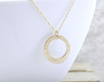 Gold Karma Necklace - Ocean Waves Necklace - Gold Circle Necklace - Ocean Pendant Necklace - Layering Necklace - Gift For Her - Christmas