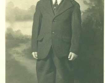 Adorable Little Boy Standing in Baggy Knickers Suit 1920s Antique RPPC Real Photo Postcard Vintage Black and White Photograph