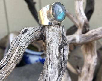 Size 8.5 Green Firey Labradorite Crystal Ring, Sterling Silver over copper Ring, Crystal, Bohemian, Boho, Gypsy, Hippie Healing Crystal SS24