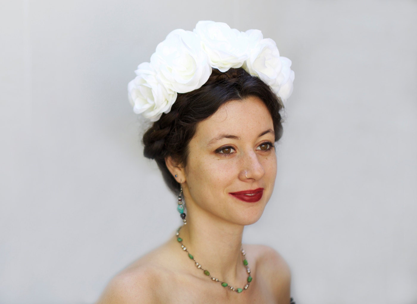 White or Ivory Rose Crown Frida Mexican Flower Headpiece
