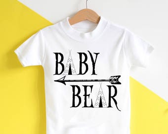 Baby Bear Baby Tshirt - toddler top, toddler tshirt, baby top, nordic arrow, summer top, baby boy, abby girl, tee pee, little explorer, gift