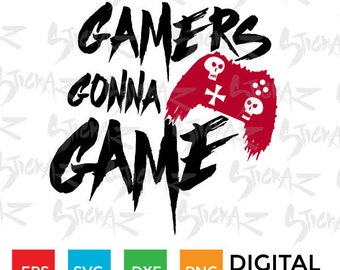 Gamers Gonna Game, Punk Controller, Ghost, Xbox, Playstation, Video game, SVG, eps, dxf, png, cut files
