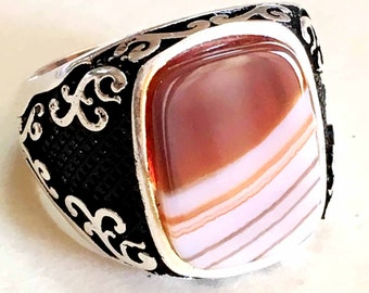925 sterling silver mens rings multi color natural red agate carnelian stone aqeeq