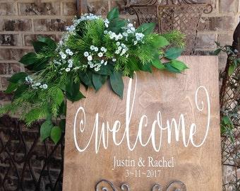 Wedding Welcome Wood Sign, Barn Wedding, Welcome Wedding Sign Wood, Wedding Date Signs, Wedding Signs Wood