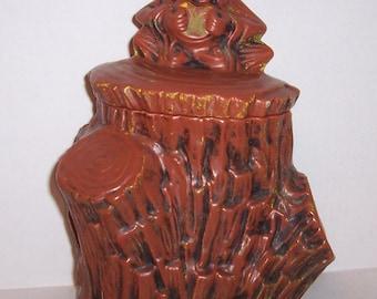 Rare Vintage Mid Century McCoy Monkey on Stump Cookie Jar