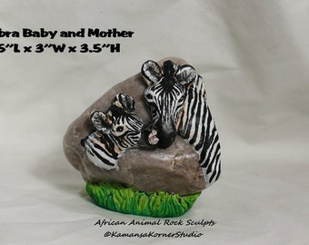 African Rock Sculpt Zebra Baby and Mom Child and Mother Sculpture Quirky