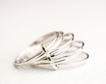 Stacking Rings - Skinny Stacking Rings - Silver Stacking Ring Set - Linked Stacking Rings