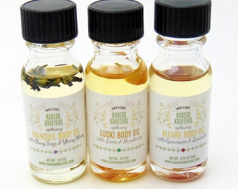 Body Oil Sampler Gift Set, Allure Body Oil, Lucki Body Oil, Tranquil Body Oil, Massage Oil, Bath Oil, All Natural, Aromatherapy