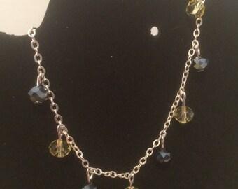 Hematite and yellow glass beaded bracelet