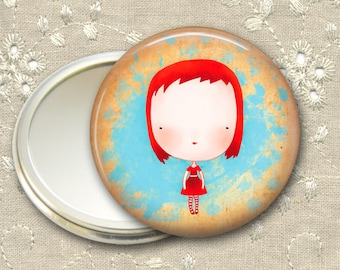 cute girl pocket mirror,  red haired girl art hand mirror, mirror for purse, bridesmaid gift, stocking stuffer  MIR-107