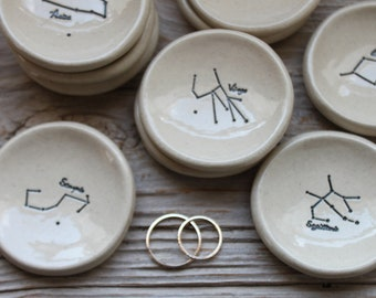 Zodiac Constellation Pottery Ring Dish - 1-2 Weeks for Delivery - Graduation Gift