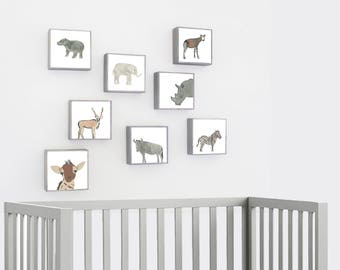 Safari Nursery. Zoo Nursery Animals Art. tribal jungle Nursery Art Prints. choose 8 prints elephant giraffe hippo nursery redtilestudio