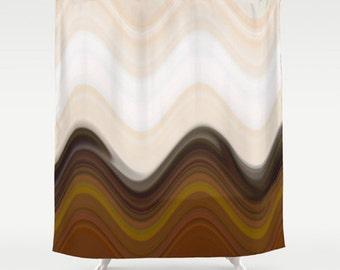 Brown Shower Curtain Chevron Bath Neutral Bathroom Decor Striped