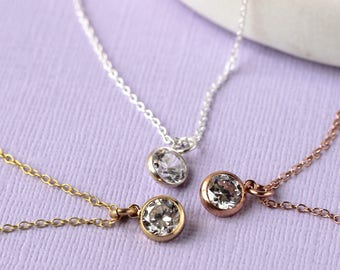 Tiny Crystal Layering Necklace - Gold Fill and Cubic Zirconia | tiny pendant | Mum Gift | simple pendant | Mother's Day