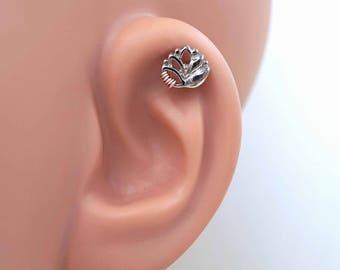 Silver Lotus Flower 16 Gauge Helix Cartilage Earring