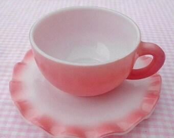 25% off customer app Crinoline ripple Hazel Atlas pink tea cup or coffee cup