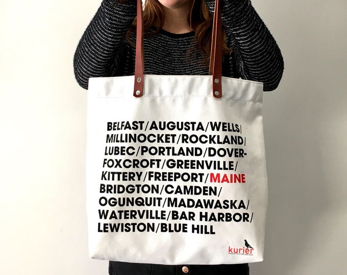 """Kurier """"Town Tote"""" - screenprinted tote bag - white cotton twill with leather handles"""