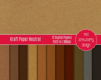 75% OFF Sale - Neutral Kraft Paper - 12 Digital Papers - Instant Download - JPG 12x12 (DP278)