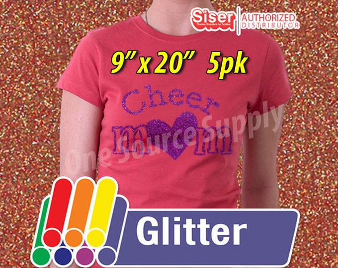 """9"""" x 20"""" / 5-sheets  / Easyweed Glitter HTV / Combine for Shipping Discount - Heat Transfer Vinyl - HTV"""