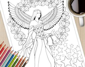 Printable Colouring Page Christmas Angel