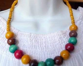 Ethnic necklace in Mango wood beads colorful crafts Bali