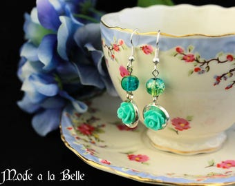 Green Rose drop earrings