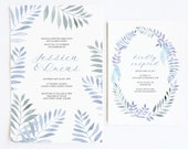 Printable Wedding Suite | 10% discount | Purple Grey Palms Leaves Wreath | Boho Beach Theme | Invitation, RSVP, Menu, Thank You, Service