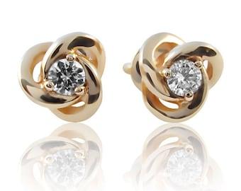 14k Gold 0.2 ct Diamond Stud earrings. Gold diamond stud earrings. Diamond earrings. Flower studs earrings.Flower earrings